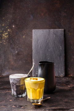 Turmeric and charcoal latte