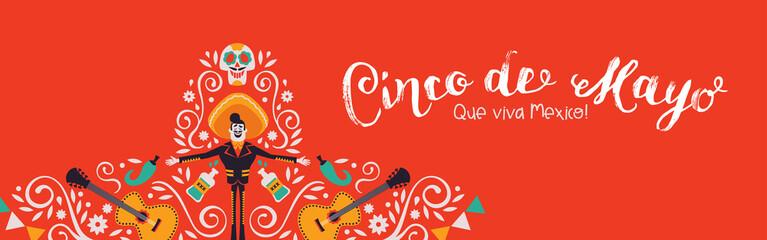 Cinco de Mayo banner of mariachi hat decoration
