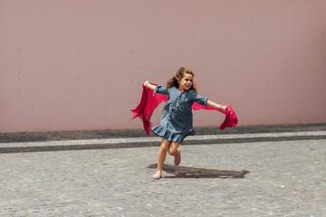 Girl Pretends Flying