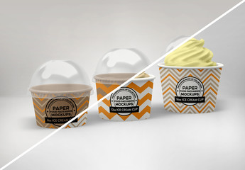 Ice Cream Cups Packaging Mockup