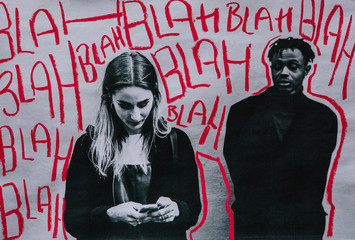 Los res print of two people, the woman using a mobile phone while the man looks on with 'Blah blah blah' chalk markings