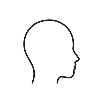 Head line silhouette. Profile contour. Vector illustration.