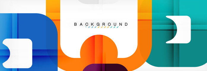 Square geometric background, multicolored template for business or technology presentation or web brochure cover layout, wallpaper.