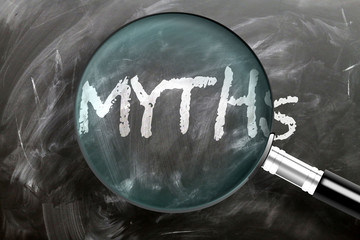 Learn, study and inspect myths - pictured as a magnifying glass enlarging word myths, symbolizes researching, exploring and analyzing meaning of myths, 3d illustration