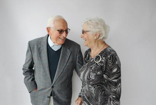 Two happy elderly people
