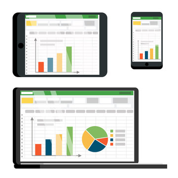 Spreadsheet Table On Tablet, Smartphone Vector Screen Set. Spreadsheet With Infographics, Pie Chart, Diagram. Data Analysis, Analytics, Statistics. Commerce Conversion, Accounting Flat Illustration