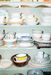 shelves of plates and bowls