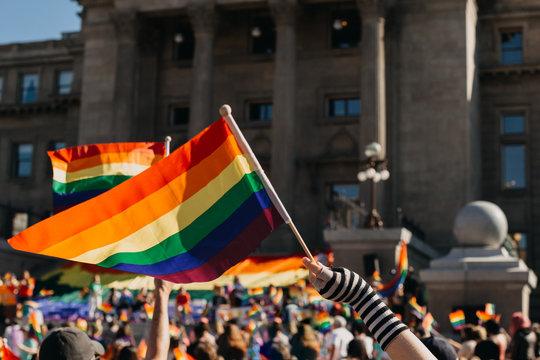 Crowd Waving Rainbow Flags At Pride Parade