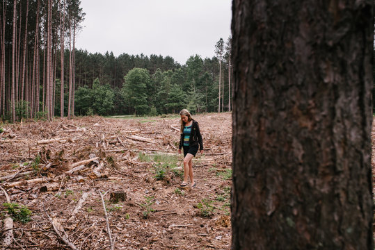 Woman Walking in Clearcutting Area