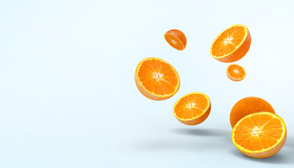 Orange slices fruit fresh Concept Summer - holidays and artwork Creative on pastel blue background - 3d rendering