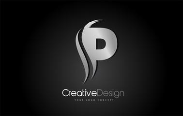 Silver Metal P Letter Design Brush Paint Stroke on Black Background