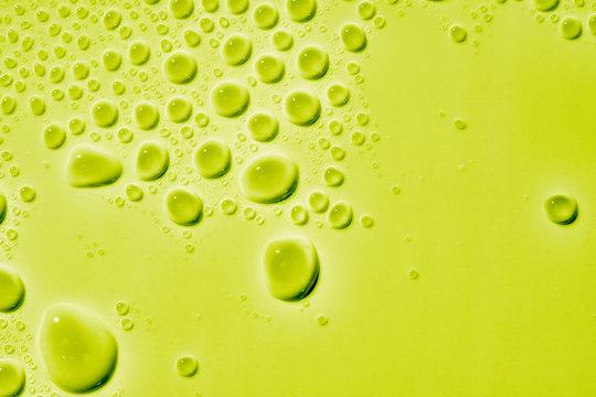 Liquid droplets on white