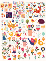Fototapete - Big collection of flowers, leaves, birds, bunny and spring symbols