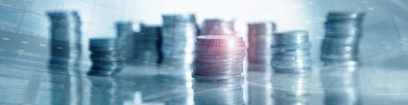 Industry Business banner background. Coins on table. Finance concept.