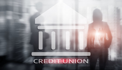 Credit Union. Financial cooperative banking services. Finance abstract background.
