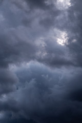 Dramatic clouds in the sky on a late afternoon