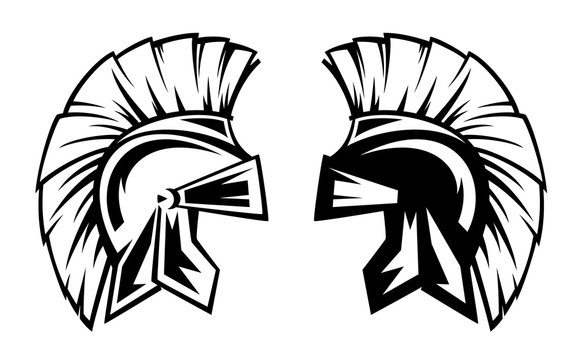 spartan warrior helmet black and white vector design - ancient Greek military symbol