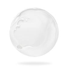 Fototapete - Splashes of milk in spherical shape, isolated on a white background