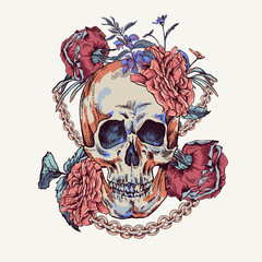 Vector Skull with roses, chains and wildflowers Day of The Dead