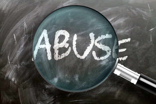 Learn, study and inspect abuse - pictured as a magnifying glass enlarging word abuse, symbolizes researching, exploring and analyzing meaning of abuse, 3d illustration