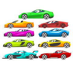 Collection of sports racing cars, colorful supercar, side view vector Illustration on a white background