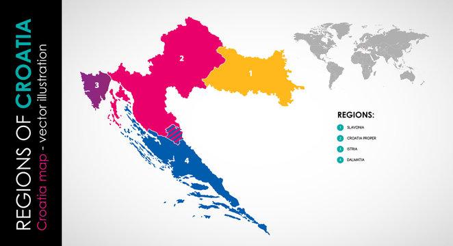 Vector map of Croatia and regions rainbow COLOR