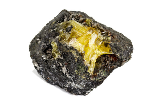 Macro of mineral stone Anglesite in Galena on white background