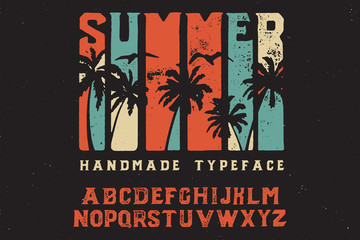 Summer. Retro font. Bold handmade font. Retro color. Sport and surf. Summer print on shirt.