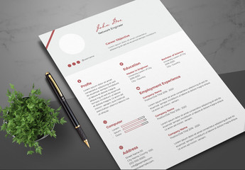 Resume Layout with Red Accents
