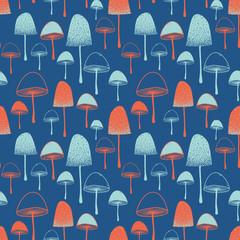 Fly agaric Mushrooms seamless vector pattern orange red blue