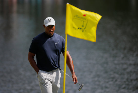 Tiger Woods of the U.S. walks on the 16th green during first round play of the 2019 Masters golf tournament at Augusta National Golf Club in Augusta, Georgia, U.S.