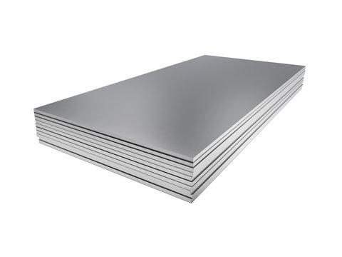 Stack of steel profile sheets. 3D Illustration