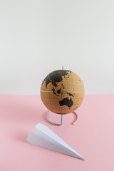 Globe on colored background. Travel Concept.
