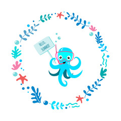 Illustration vector of cute and funny octopus diver with snorkeling mask and snorkel in circle of aglae on the white background. For kids and babies t-shirt prints, posters and other uses. Vector