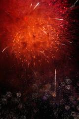 Red fireworks background