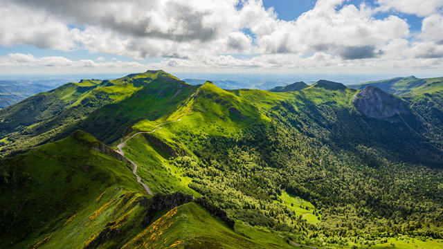 Panoramic landscape of volcanic mountains