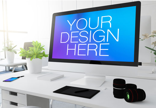 Modern Office Desk with Computer and Smartphone