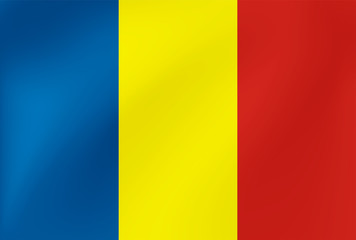 National flag of Romania with wavy texture. Vector illustration in EPS10.