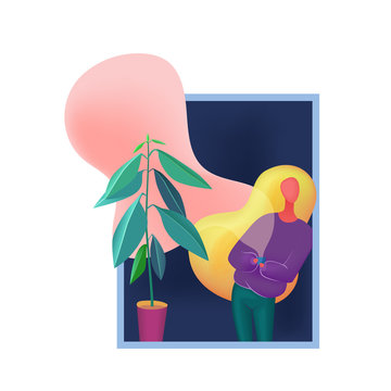 Woman staying near window, holding cup and looking out the window abstract vector illustration.