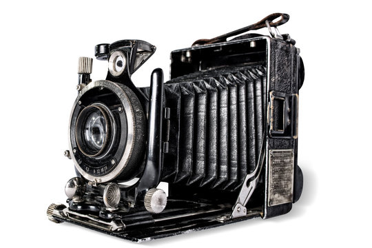 Old camera on white background, isolated.