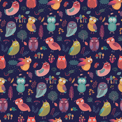 Wall Mural - Seamless pattern with Cute Woodland owls.