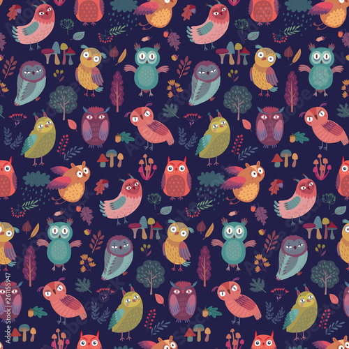 Canvas Prints Seamless pattern with Cute Woodland owls.