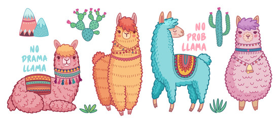 Canvas Print - Cute Lamas with funny quotes.
