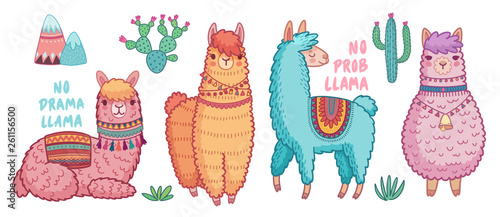 Wall mural Cute Lamas with funny quotes.