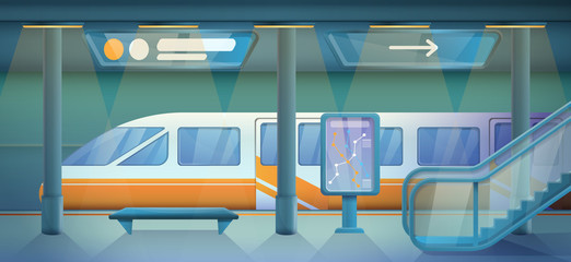 cartoon empty subway station, vector illustration