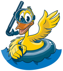 Cartoon Duck with Snorkel Mask and Inner Tube