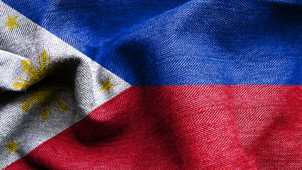 High resolution Philippines flag flowing with texture fabric detail
