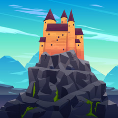Medieval castle, ancient citadel or impregnable fortress with stone towers on rocky peak cartoon vector. Fairytale king palace, royal stronghold, dracula shelter high in mountains illustration