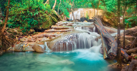 Beautiful waterfall at Erawan national park, Thailand. Panorama
