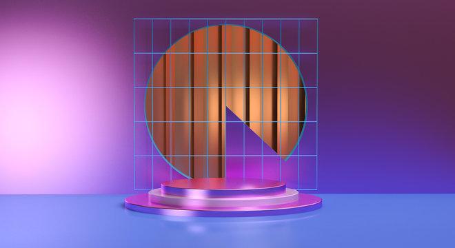 Geometric shape scene podium advertized minimal abstract background, retro 80s style, 3D render.
